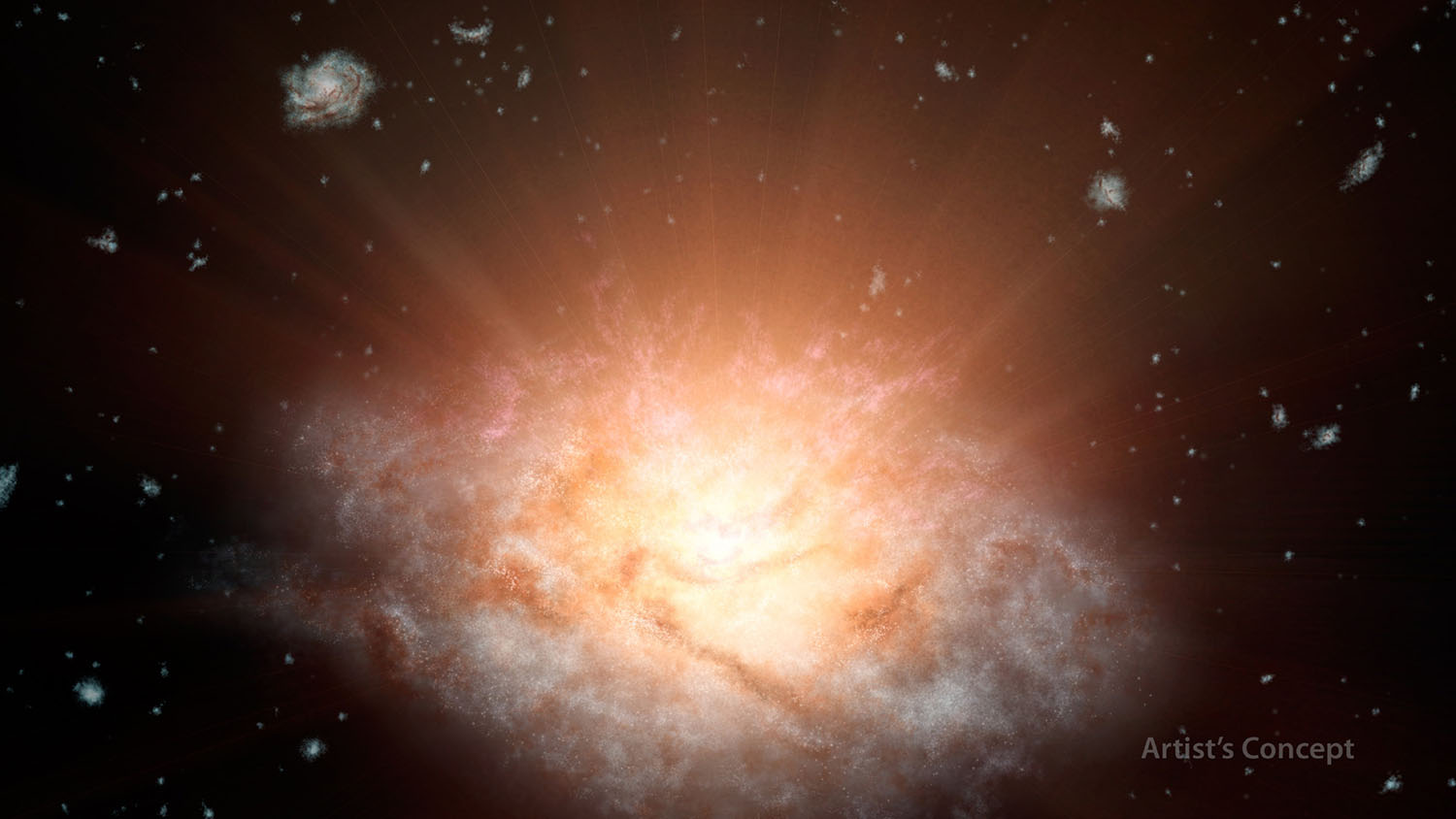 This artist's concept depicts the current record holder for the most luminous galaxy in the universe.