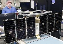One of eight microsatellites in the CYGNSS constellation under construction.