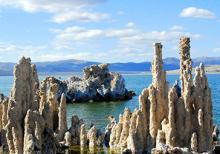 """Mono Lake, California, with salt pillars known as """"tufas"""" visible"""