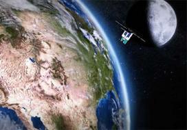 Artist's concept of Orbital Test Bed satellite flying over Earth