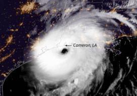 Hurricane Laura - pictured making landfall on Aug. 27