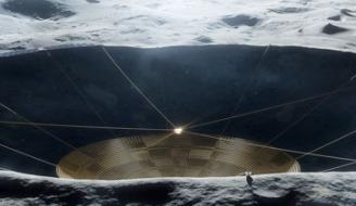Illustration of a conceptual radio telescope within a crater on the Moon